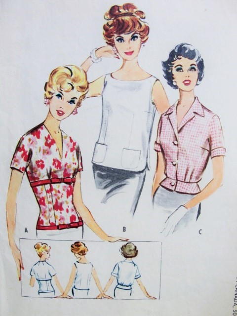50s ROCKABILLY Blouse Set Pattern McCalls 5046 Vintage Sewing Pattern Three Styles Fitted Figure Show Off, Cute Sleeveless Overblouse, Fitted Short Peplum Bust 36