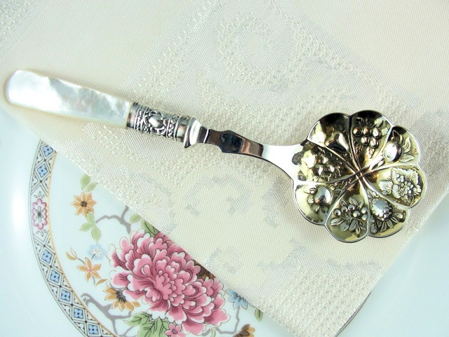LOVELY EMBOSSED SILVER SERVING SPOON LUSTROUS MOTHER of PEARL HANDLE