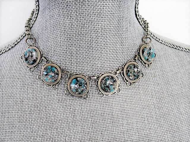 FABULOUS 1950s Unique Mottled Turquoise Art Glass Stones and Silver Tone Metal Necklace Wear or Collect Vintage Costume Jewelry