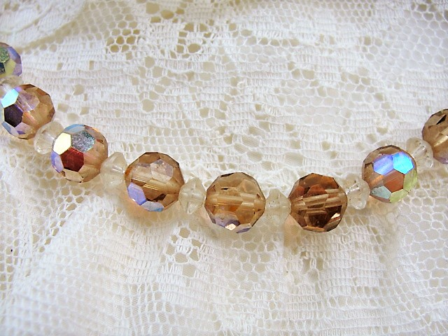 1950s GLITTERING Faceted Aurora Borealis Austrian Cut Crystal Bead Necklace Stunning Champagne Color Bridal Neckace Vintage Costume Jewelry