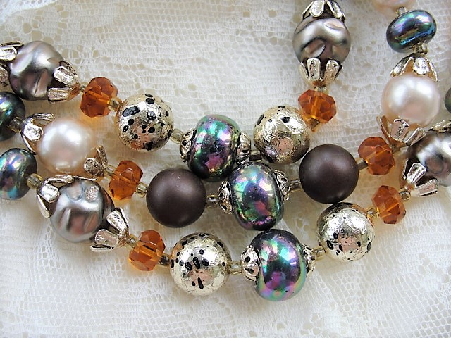 Vintage 50s AMAZING Multi Strand Bead and Cut Crystal Necklace Warm Autumn Colors Day or Evening Quality Costume Jewelry