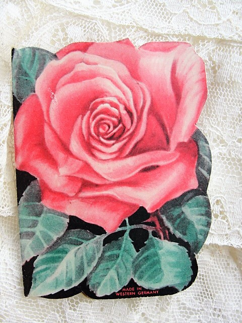 CHARMING Vintage Needle Case Booklet PINK ROSES Western Germany Vintage Sewing Needlework Collectible