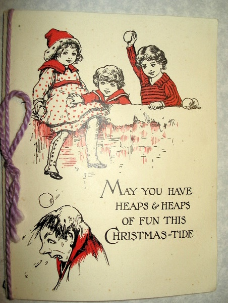 VICTORIAN SNOW BALL FIGHT CHRISTMAS CARD CHILDREN CUTE!