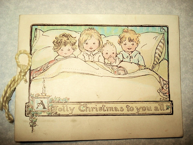 ANTIQUE CHRISTMAS CARD CUTE CHILDREN  SANTA SWEET!