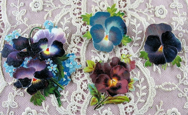 Beautiful Victorian Die Cut Scraps Pansy Flowers Pansies Great For Display Fine Crafts Scrapbooking