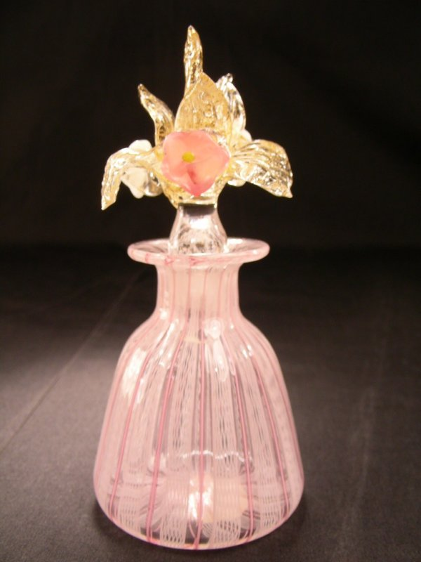 PERFUME BOTTLE LATTICINO ITALIAN ART GLASS EXQUISITE