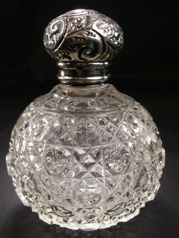 ANTIQUE  PERFUME BOTTLE STERLING  NOUVEAU TOP CUT GLASS