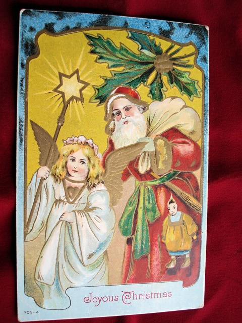 ANTIQUE POSTCARD SANTA CLAUS AND ANGEL LOVELY