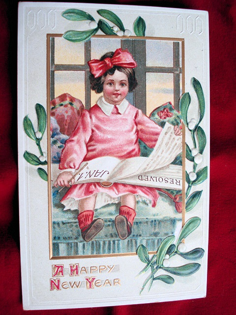 LOVELY EMBOSSED NEW YEAR POSTCARD LITTLE GIRL CHILD