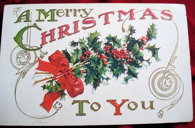ANTIQUE EMBOSSED CHRISTMAS POSTCARD NEVER USED