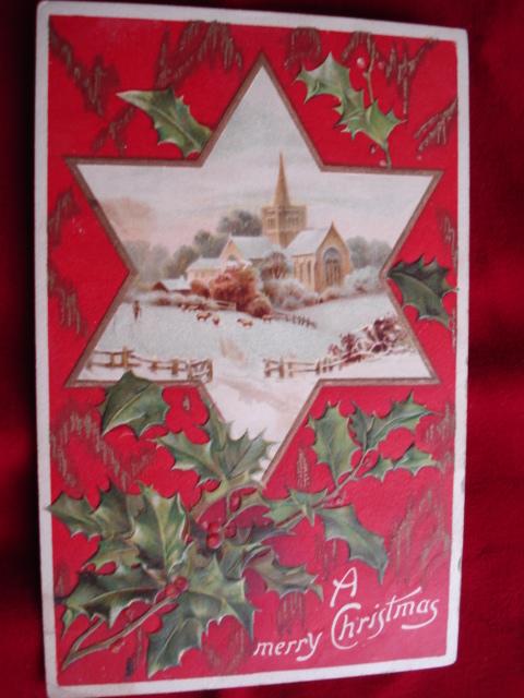 EMBOSSED POSTCARD CHRISTMAS SNOWY SCENE PRETTY