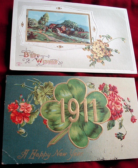 1911  NEW YEAR POSTCARDS POSTCARD SHAMROCK EMBOSSED