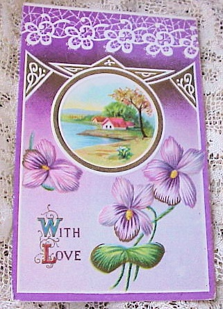 ANTIQUE EMBOSSED VALENTINE CARD WITH LOVE VIOLETS LACE VERY PRETTY!