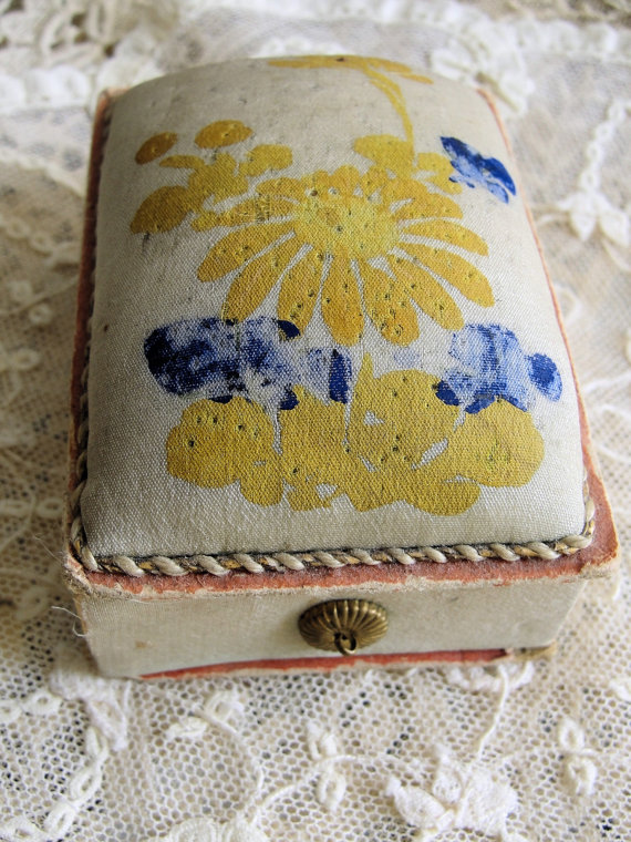 1930s Sweet Pincushion Combination Pin Box Sewing Box Hand Painted Silk Decorative Display For The Sewing Needlework Room Romantic Shabby Chic