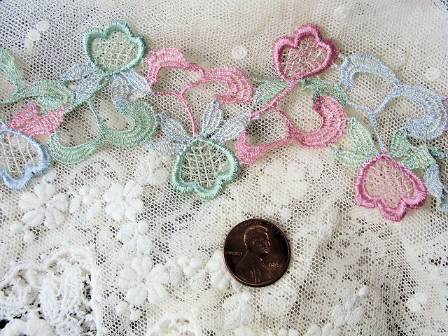 1930s Silk Floral Roses Trim Pink Green Blue Very Pretty Delicate Lace Great For Lampshades Hats Heirloom Sewing