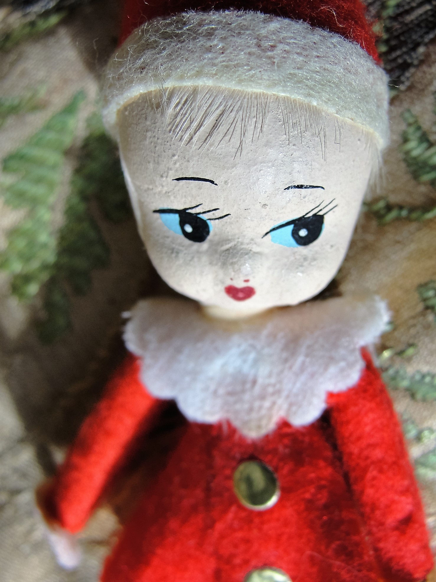 SWEET Vintage Poseable Pixie Girl Elf Ornament Bendable Wire Legs and Arms Vintage Japan Pixie Ornaments Kitchy Mid Century Christmas Decorations