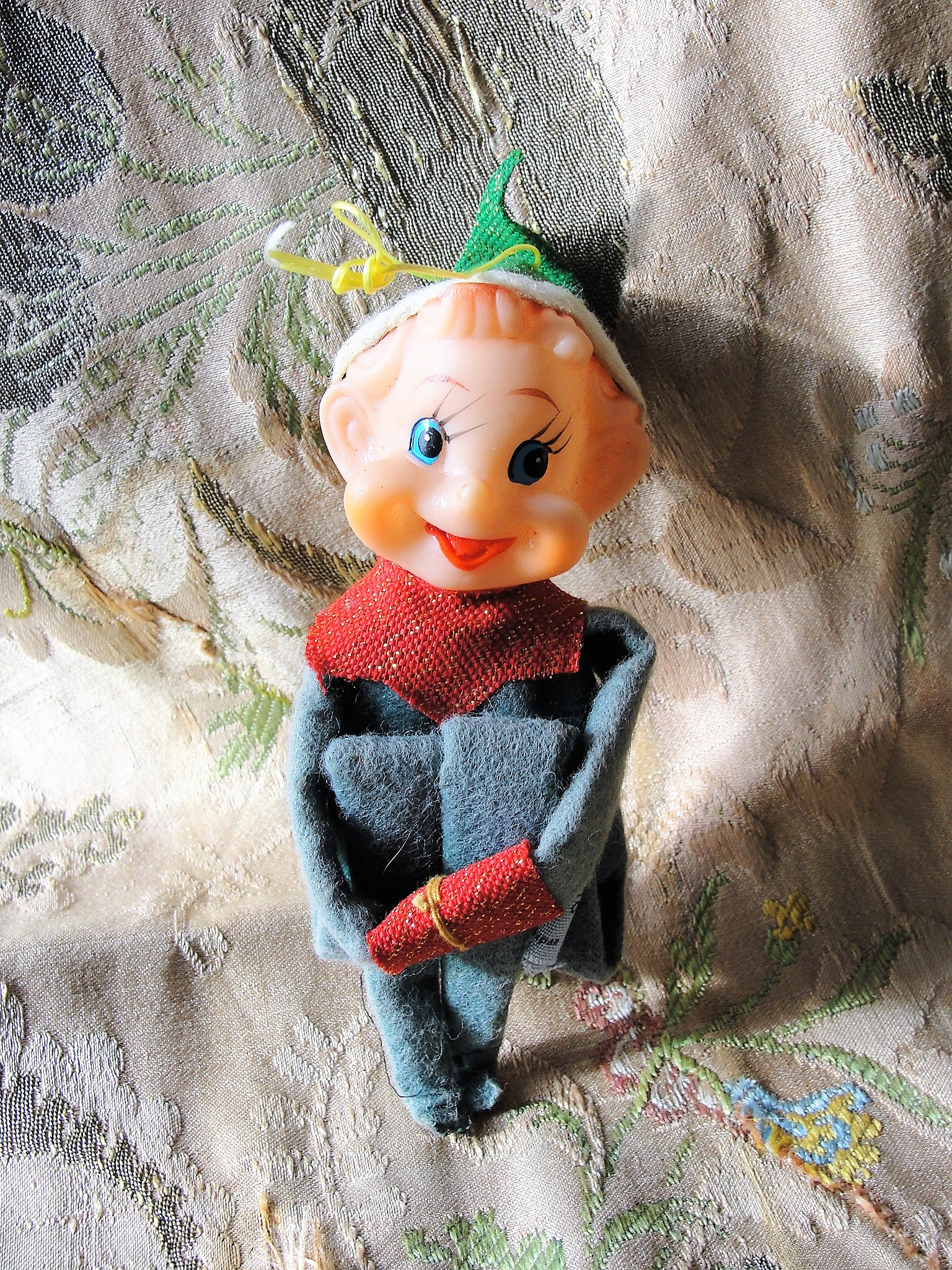 ADORABLE Vintage 1950s 60s Green Knee Hugger Pixie Elf, Large Size Elf Shelf Sitter Japan Kitsch Elf Kitschy Christmas Ornament Mid Century Christmas Decorations