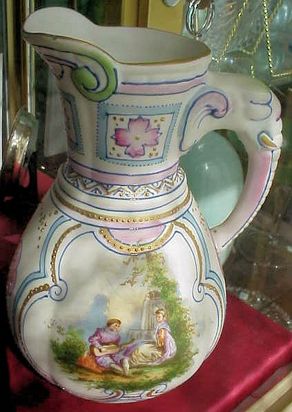 BEAUTIFUL HANDPAINTED COUPLE FLOWERS JUG PITCHER  FANCY GOLD BEAD WORK