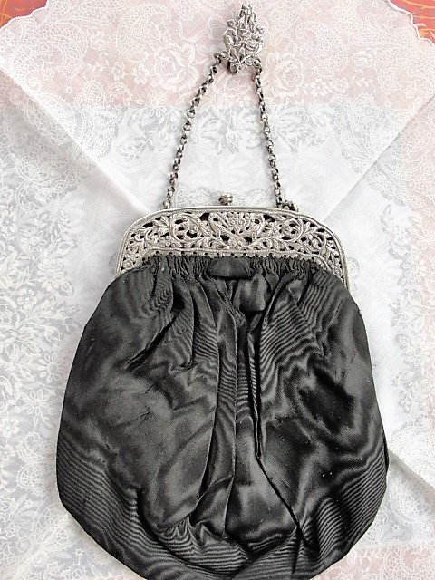 BEAUTIFUL Victorian CHATELAINE Purse Bag Ornate Silver Frame and Belt Hook Highly Decorative Collectible Purse