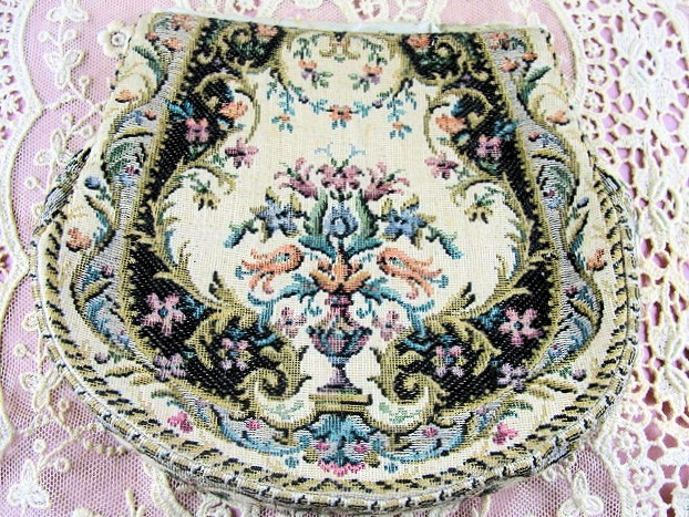 Lovely Vintage French Tapestry Purse Hand Bag Needs Frame Added