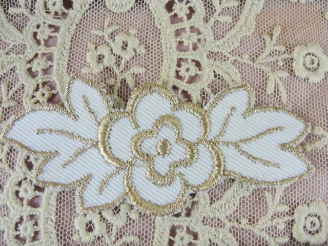 Lovely Vintage Small French Applique Rich Gold Metallic Lame Embroidery Flower Perfect For Fine Sewing Projects