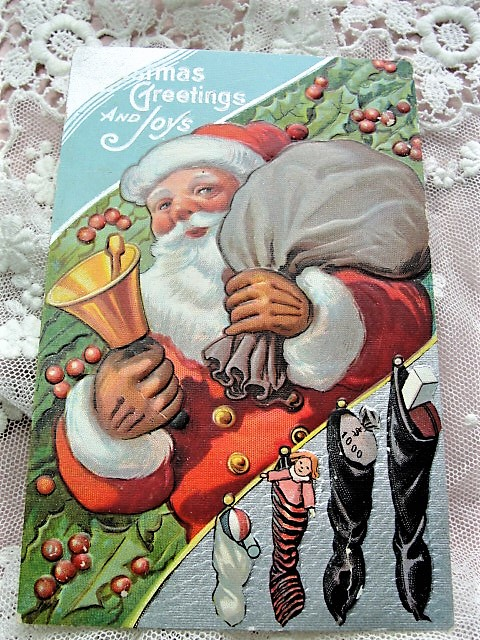 Antique Christmas Greeting Postcard JOLLY Old St Nick SANTA Claus Embossed Toys Decorative Holiday Decor Collectible Vintage Xmas Card