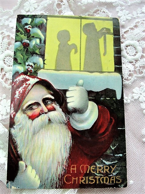 Antique Christmas Greeting Postcard Father Christmas Old St Nick SANTA Claus Embossed Decorative Holiday Decor Collectible Vintage Xmas Card