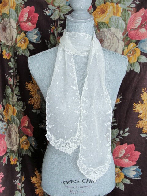Victorian Fine LACE SCARF Intricate Lace Pattern French Netted Embroidered Lace Lovely To Wear or Decorate with Bridal Vintage Clothing