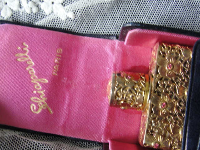 VERY RARE Schiaparelli SHOCKING Special Edition 1951 Christmas French Perfume Bottle With Leather Case