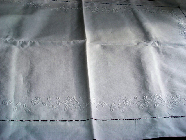 ANTIQUE LINEN  PILLOW SHAMS PILLOW CASES WHITEWORK