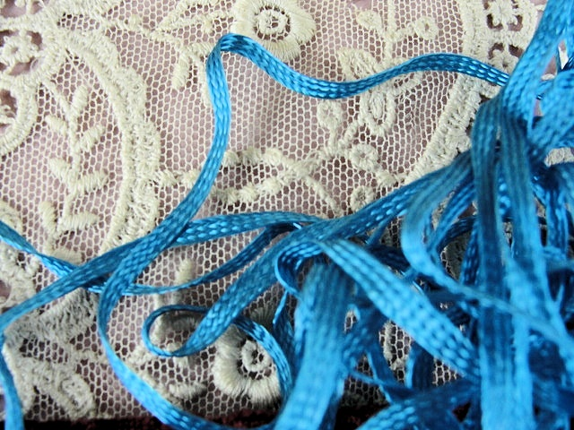 Antique Silky Ribbon Tiny Narrow Perfect For Doll Shoe Laces Ribbon Work Flowers Fine Heirloom Sewing