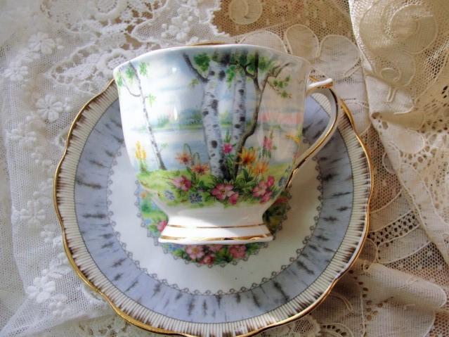 CHARMING Vintage Tea Cup and Saucer SILVER BIRCH Royal Albert English Bone China for Bridal Luncheons,Showers, Hostess Gift, Bridesmaid Gift, Weddings,Tea Parties
