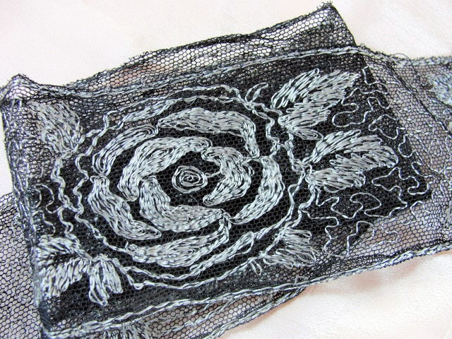 1920s Flapper Era French Black Net Lace Wth Silver Roses Embroidery  Art Deco Style
