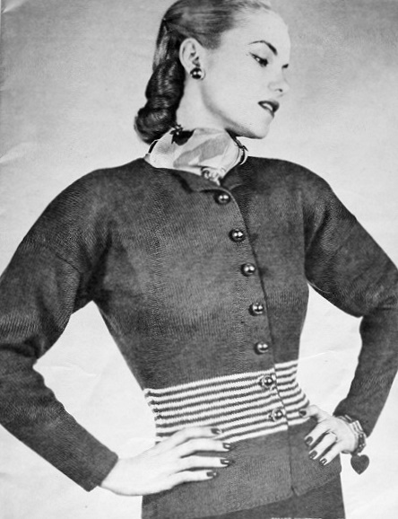 1940s Sweater Jacket Vintage Knitting Crochet Pattern Nipped In Waist