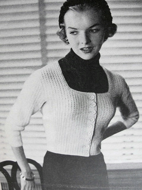 1950s Vintage Knitting Pattern Marilyn Monroe Style Sweater Jacket and Pullover Sizzling Retro Style
