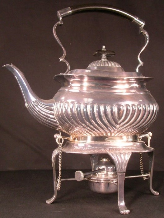 VINTAGE SHEFFIELD SILVER ORNATE TEA POT KETTLE ON STAND