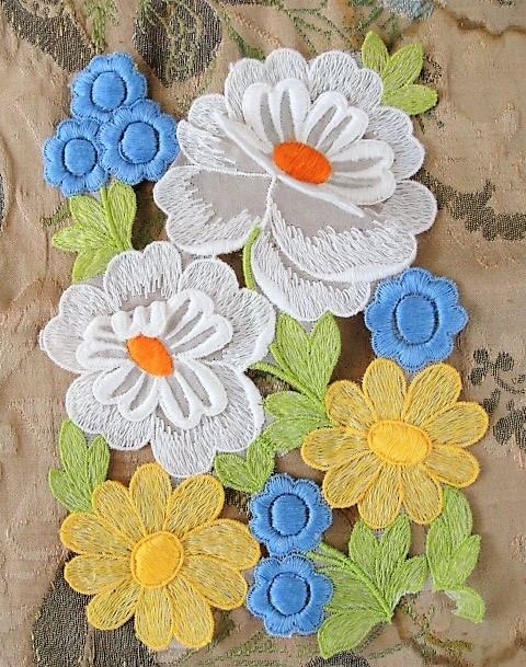 LOVELY Intricate Embroidered Vintage APPLIQUE Summer Color Flowers Corsage Large Trim Hats,Wedding Bridal, Flapper Clothing Etc