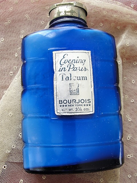 BEAUTIFUL Art Deco Evening In Paris Talcum Powder Bottle Cobalt Blue 1930s Glass Perfume Talc Vanity Collectible