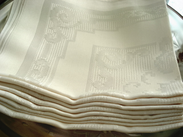 VINTAGE DAMASK NAPKINS SET LARGE DINNER SIZE