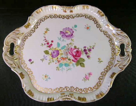 GORGEOUS ANTIQUE HAND PAINTED FLORAL GILT FLORAL TRAY
