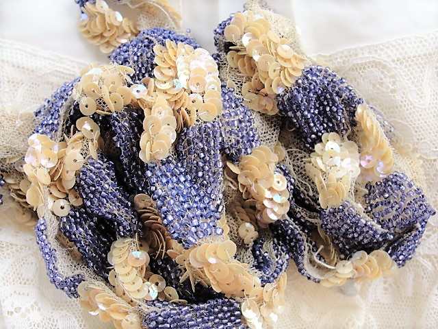 DECADENT Art Deco Flapper Era Iridescent Beaded Trim Lavender Beads Beige Sequins on Netted Lace Spectacular Vintage Embellishment Lace Beaded Textile