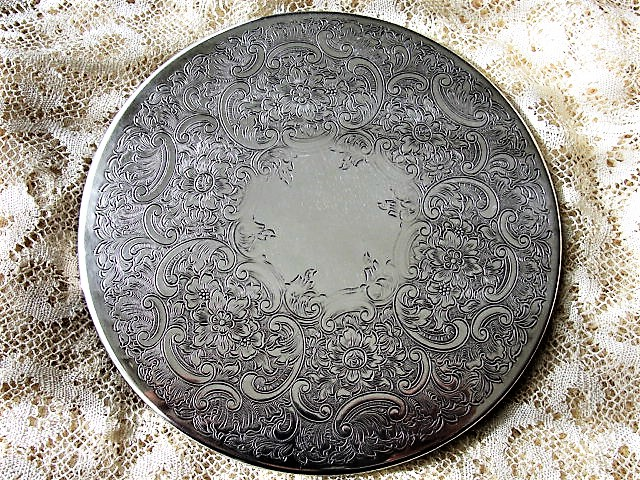 BEAUTIFUL Tea Time Antique Silver Plated Teapot TRIVET Hotplate Scrolling Foliage ROSES Engraving Wedding Bridal Tea Lover Gift Collectible