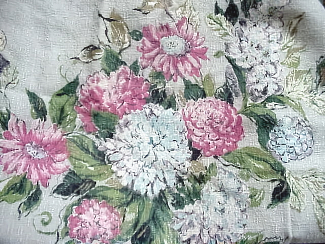 GORGEOUS VINTAGE BARKCLOTH HUGE PANEL FLORAL