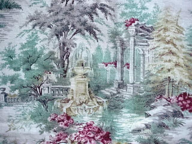 ROMANTIC VINTAGE BARKCLOTH FABRIC CUSHION COVER