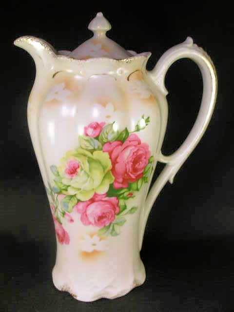 ANTIQUE PORCELAIN   CHOCOLATE POT LUSH ROSES FLOWERS JUST LOVELY