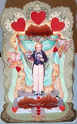 ANTIQUE LG VALENTINE FOLD OUT HONEYCOMB DOVES BOY CUTE!