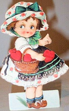 ADORABLE ANTIQUE VALENTINE GIRL and BASKET OF HEARTS  STAND UP CARD