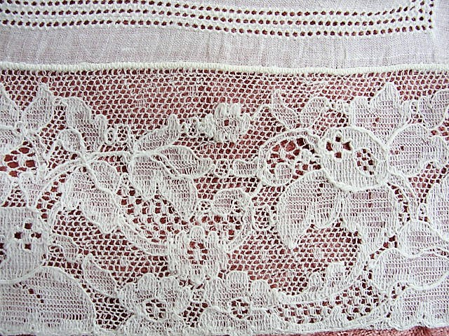 Vintage BRIDAL WEDDING Handkerchief Irish Linen WIDE French Lace Hankie Special Bridal Hanky