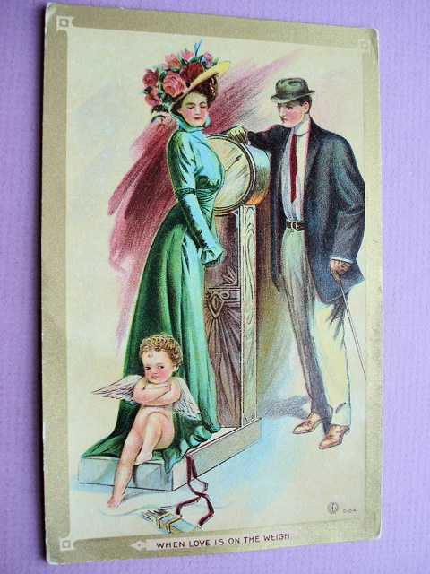 ANTIQUE VALENTINE POSTCARD  WHEN LOVE IS ON THE WEIGH